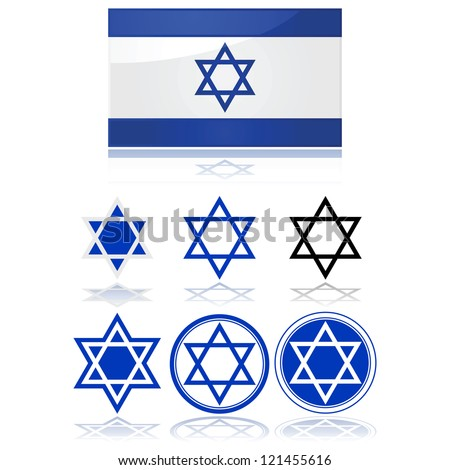 Glossy vector illustration showing the flag of Israel and variations on the star of David - stock photo