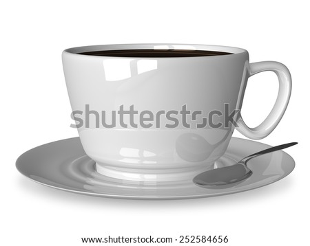 Glossy white cup of coffee or tea and spoon on saucer isolated on white - stock photo