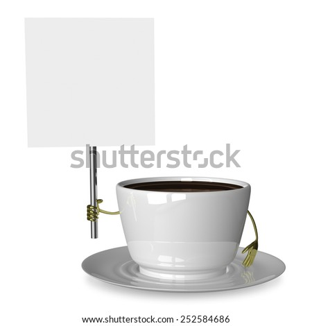 Glossy white cup of coffee or tea character with placard isolated on white - stock photo