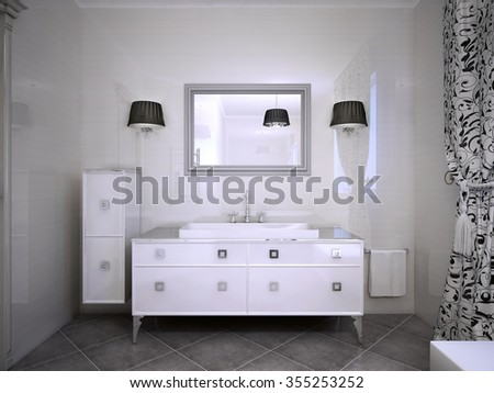 Glossy white furniture in bathroom modern style. Shiny walls, large mirror with sconces both side. 3D render - stock photo