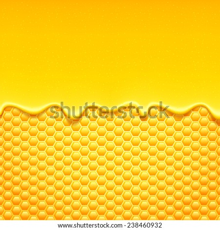 Glossy yellow pattern with honeycomb and sweet honey drips. Sweet background. - stock photo