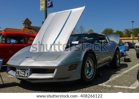 GLOUCESTER, VA - April 16, 2016: A 1980 Chevrolet Corvette at the Daffodil car show with different lighting, the Daffodil car show is held once each year after the Daffodil  parade and festival.