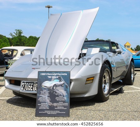 GLOUCESTER, VA - JULY 9, 2016: A 1980 Chevrolet Shark corvette at the Collector Car Appreciation Day Car Show sponsored by the Middle Peninsula Classic Cruisers car club.