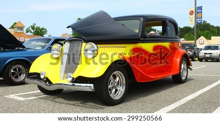 GLOUCESTER, VA- JULY 19: A 1933 Ford at the 2015 Middle Peninsula Classic Car Club blast from the past car show in Gloucester Virginia  - stock photo