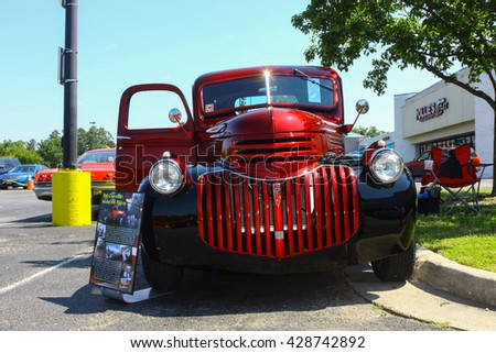 GLOUCESTER, VA - MAY 28, 2016: A 1941 Chevrolet pickup truck at the First Aaron's rental car and Motorcycle show, the show is Sponsored by Aaron's furniture rental of Gloucester  - stock photo
