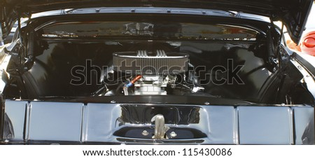 GLOUCESTER, VA- OCTOBER 12:A vintage engine compartment at the 29th Annual 2012 MPCC(middle peninsula car club)meeting at the Main St shopping center in Gloucester, Virginia on October 12, 2012 - stock photo