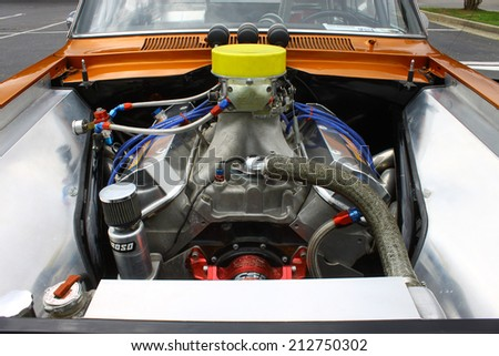 GLOUCESTER, VIRGINIA - AUGUST 23, 2014:A blown 1966 Chevy II SS 598CID engine in the DRIVE-IN FOR DIABETES CAR SHOW Sponsored by Tractor Supply in August in Gloucester Virginia. - stock photo