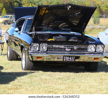GLOUCESTER, VIRGINIA - NOVEMBER 12, 2016: A 1968 Chevrolet Chevelle SS 396 in the annual Shop With a Cop Car Show held once each year to help benefit needy children of Gloucester for Christmas