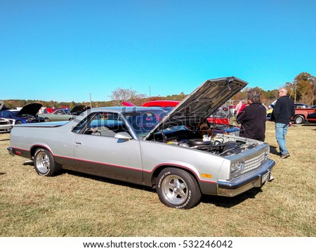 GLOUCESTER, VIRGINIA - NOVEMBER 12, 2016: A Chevrolet El Camino in the annual Shop With a Cop Car Show held once each year to help benefit needy children of Gloucester for Christmas