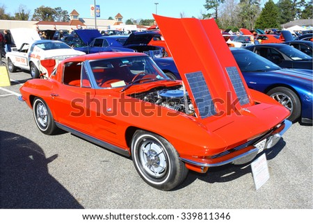 GLOUCESTER, VIRGINIA - NOVEMBER 14, 2015: A 1963 Corvette split window coupe in the annual Shop With a Cop Car Show held once each year to help benefit needy children of Gloucester for Christmas.