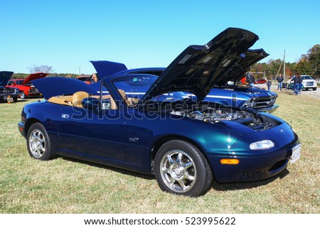 GLOUCESTER, VIRGINIA - NOVEMBER 12, 2016: A Mazda Miata MX5 convertible in the annual Shop With a Cop Car Show held once each year to help benefit needy children of Gloucester for Christmas