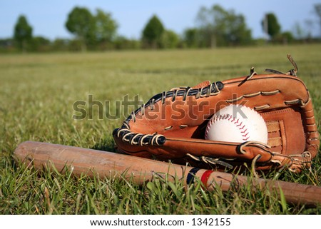Glove, ball & bat - stock photo