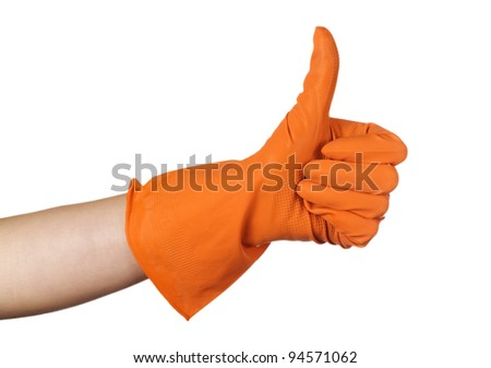 glove gesturing ok (yes) isolated on white background - stock photo