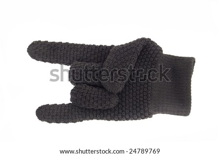 glove with bristling little and forefinger. cutout