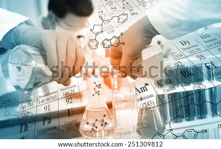 Gloved hand pour the solution from flask to another flask in laboratory with chemical equations and periodic table background. - stock photo