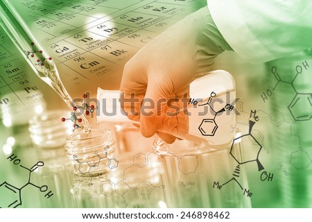 Gloved hand pour the solution from flask to test tube in laboratory with chemical equations and periodic table background. - stock photo