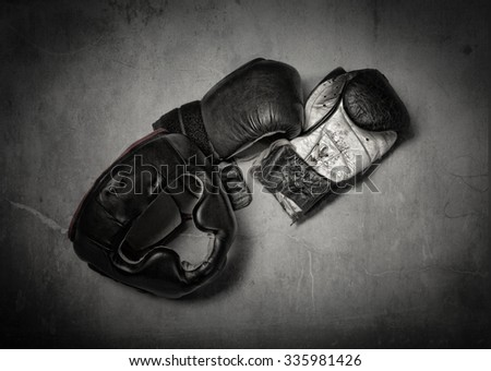 gloves and helmet for boxer, vintage style - stock photo