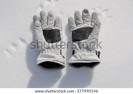 Gloves in snow - stock photo