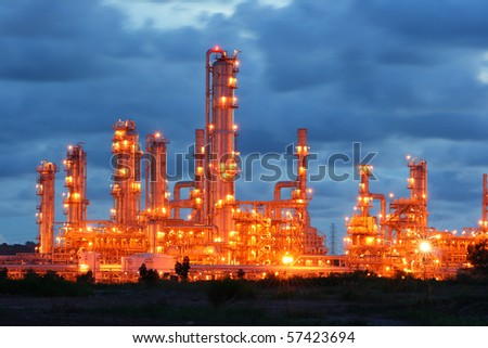 Glow light of petrochemical industry - stock photo