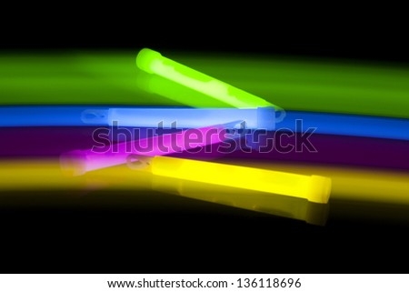 Glow sticks with movement,long time exposure