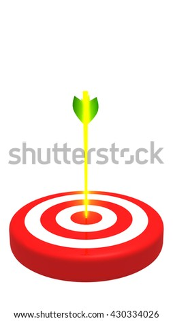 Glowing arrow and target, vertical 3D illustration - stock photo