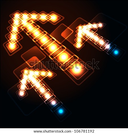 Glowing background with arrows.  Raster version of vector. - stock photo