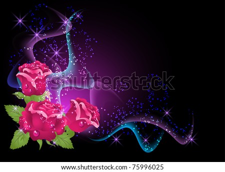 Glowing background with roses, smoke and stars. Raster version of vector.