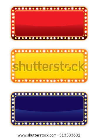 Glowing banner and signboard with light bulbs. on White background. - stock photo