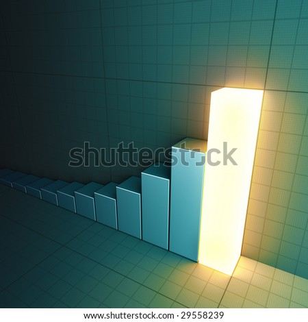 Glowing bar graph (with copyspace) - stock photo