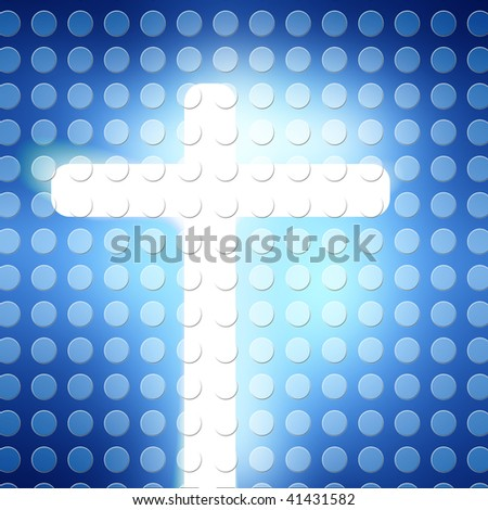 glowing blue dots with a cross on it
