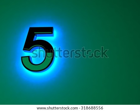 Glowing blue light black figure. Blue neon glow. Black brilliant figure. A separate letter. Raster illustration - stock photo