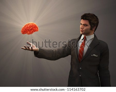 glowing brain of the human hand
