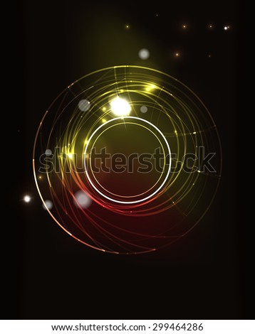 Glowing circle and blending colors in dark space.  illustration. Abstract background - stock photo