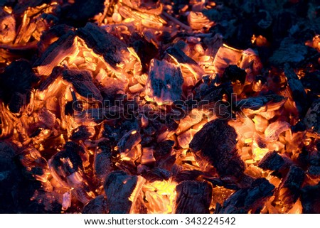 Glowing coals background - stock photo
