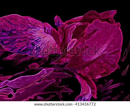 Glowing, colorful abstract illustration of an iris