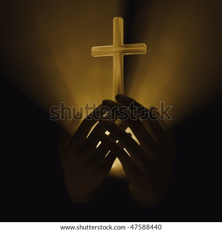 glowing cross in hands - stock photo