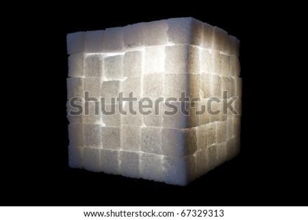 glowing cube made from white sugar bricks
