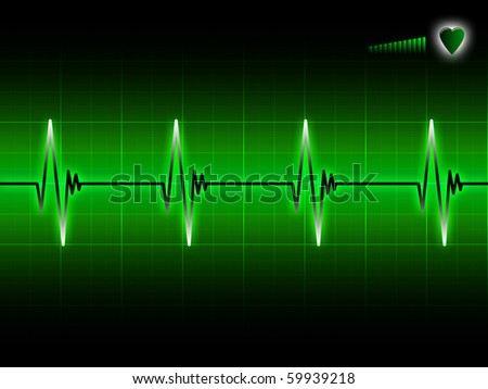 Glowing electrocardiogram graph on a dark background