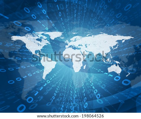 Glowing figures and world map. Hi-tech technological background