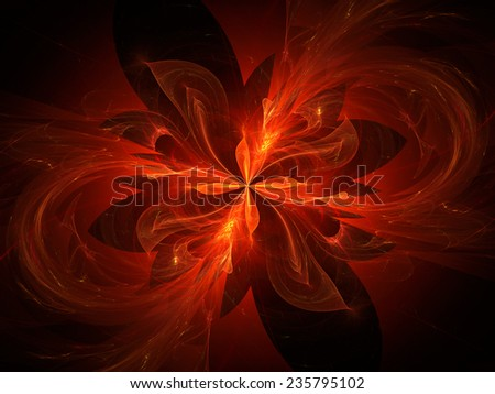 Glowing four dimensional flames in space, computer generated abstract background - stock photo