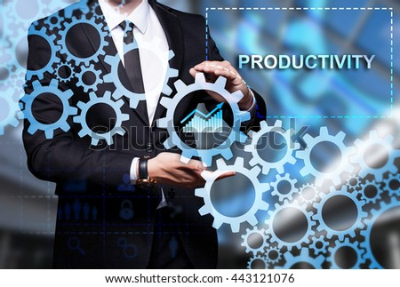 "Glowing gear with icon ""Productivity"" in the hands of a businessman. Business concept. Internet concept. - stock photo"