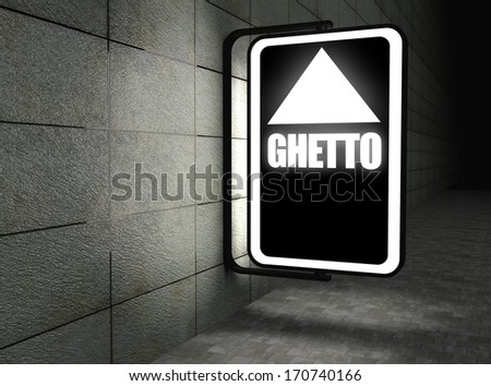 Glowing Ghetto sign at night on street - stock photo