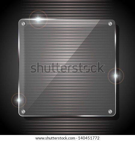 Glowing glass panel on a dark gray background, illustration.