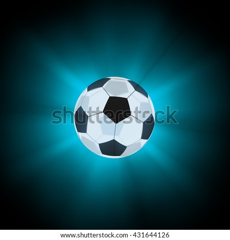 Glowing glass soccer ball. Isolated on white background. 3d render
