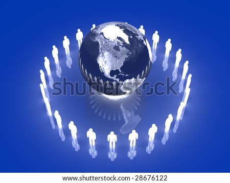 Glowing Global Team - America - stock photo