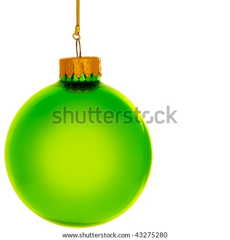Glowing Green Christmas Ornament Isolated On White Background - stock photo