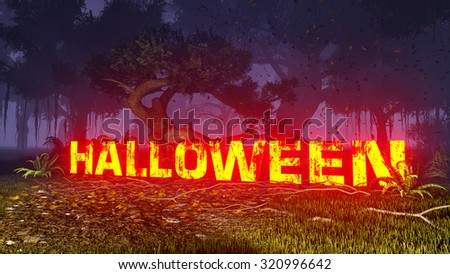 Glowing Halloween text in dark autumn forest at night. Decorative 3D illustration was done from my own 3D rendering file. - stock photo