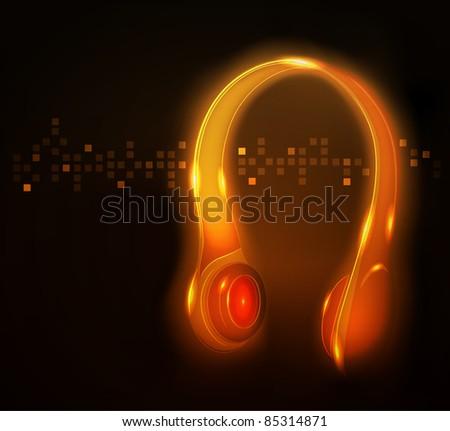 Glowing headphone, raster illustration - stock photo