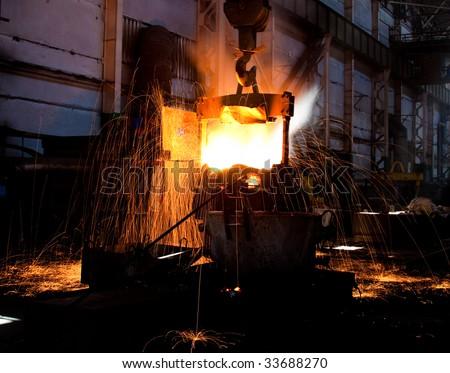 Glowing hot steel - stock photo