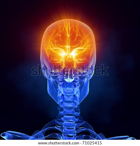 Glowing human brain in x-ray skull - front view - stock photo